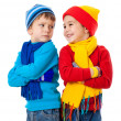 Two emotional kids in winter clothes — Stock Photo