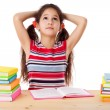 Tired girl with stack of books — Stock Photo #21599419