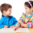 Two kids reading the book — Stock Photo
