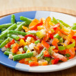 Frozen vegetables on the plate — Stockfoto