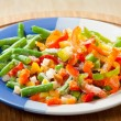 Frozen vegetables on the plate — 图库照片