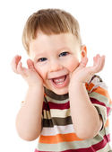 Little boy hide face under hands — Stock Photo