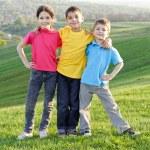 Happy kids on the hillside — Stock Photo #25358701