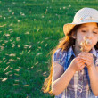 Girl blowing to dandelion — Stock Photo