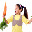 Amazed girl with two carrots — Stock Photo