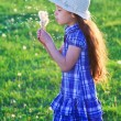 Girl blowing to dandelions — Stock Photo