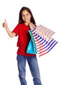 ショッピング バッグでハッピー ガール — ストック写真