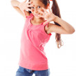 Funny girl in pink dress — Stock Photo