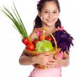 Smiling girl with vegetables — Stock Photo