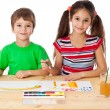 Two little kids drawing together — Stock Photo