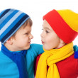 Two speaking kids in winter clothes — Stock Photo