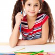 Smiling girl draw the rainbow — Stock Photo