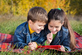 Two kids with tablet PC — Stock Photo