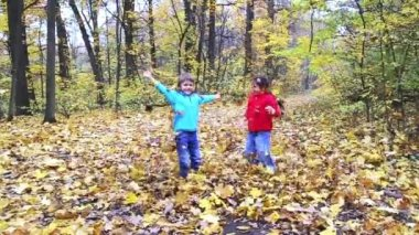 Two kids playing with leafs in the forest — Stock Video
