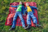 Twee gelukkige jonge geitjes op de weide — Stockfoto
