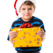 Cunning boy with gift box — Stock Photo #34400335
