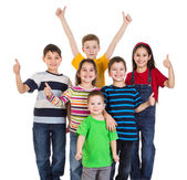 Group of kids with thumbs up sign — Stock Photo
