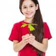 Girl with oak sapling in hands — Stock Photo #43451239