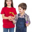 Kids with oak sapling in hands — Stock Photo #43706553