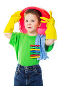 Funny boy with bucket — Stock Photo
