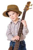 Malý chlapec s rockové kytary — Stock fotografie