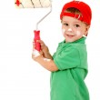 Little worker with paintroller — Stock Photo #4886056
