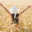 Girl on wheat field — Stock Photo #49066001