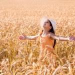 Happy girl on wheat field — Stock Photo #50022305
