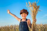 Boy on wheat field — Stock Photo