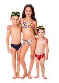 Three kids in diving masks — Stock Photo