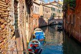 Canal soleado venecia — Foto de Stock