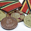 Stock Photo: Medals for honours in protection