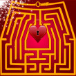 Postcard maze of love. Valentine day. — Vettoriali Stock