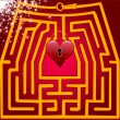 Postcard maze of love. Valentine day. — Stock vektor