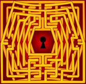 Postcard with a labyrinth — Stock Vector