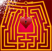 Postcard maze of love. Valentine day. — Stock Vector