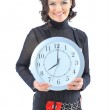 Nice business woman, with the clock. Isolated on a white background. — Stock Photo #13294198