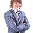 Stock Photo: The young businessman. Isolated on a white background.