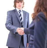 Handshake of the two businessmen, agreed in the contract. Isolated on a white background. — Stock Photo