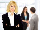 Mujer de negocios. negociaciones en la oficina — Foto de Stock