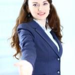 en vacker ung kvinna som leende business — Stockfoto