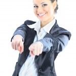 Nettes Geschäft Frau zeigenden Finger. Isoliert auf weißem Hintergrund — Stockfoto
