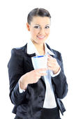 Beautiful business woman with a cup of coffee. Isolated on a white background. — Stock Photo
