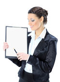 Portrait of a pretty young business lady with the work plan, smiling. Isolated on a white background. — Stock Photo
