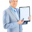 Nice businessman at the age, shows the plan of work. Isolated on a white background. — Stockfoto