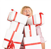 Happy woman with a gift — Stock Photo