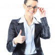�eautiful business woman in glasses with his thumb up. Isolated on a white background. — Stock Photo #18517255