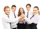 Verksamhet team sätter sina händer på varandra — Stockfoto