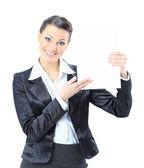 Krásný obchodní žena s bílým praporem. izolované na bílém pozadí. — Stock fotografie