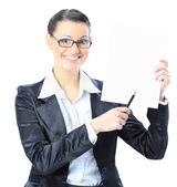�eautiful business woman in glasses with a white banner. Isolated on a white background. — Stock Photo